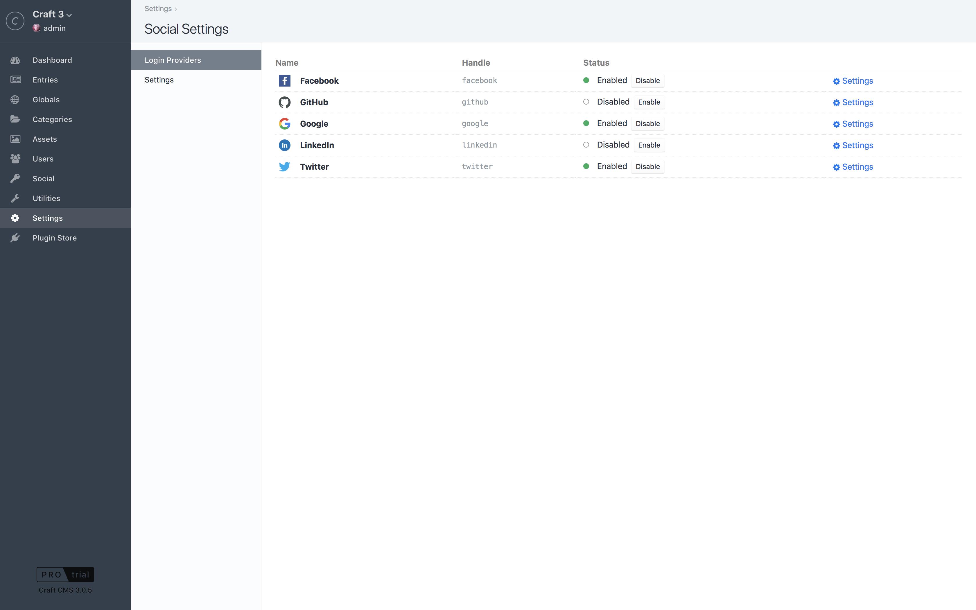 Social Screenshot: Social-Login-Providers